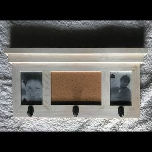 Hanging photo frames, hook and cork board
